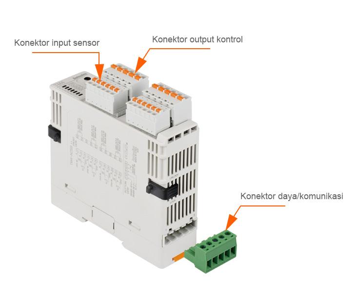 Konektor input sensor, Konektor output kontrol, Konektor daya/komunikasi