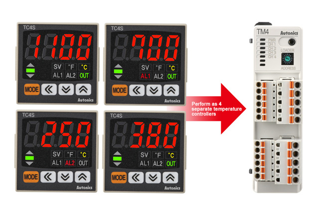 Perform as 4 separate temperature controllers