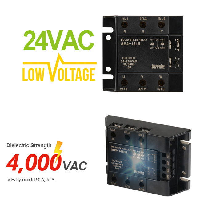 24VAC - LOW VOLTAGE, Dielectric Strength - 4,000VAC(50A, 75A models only)