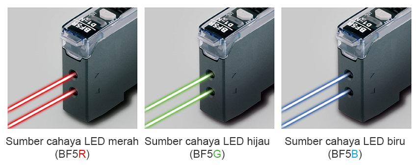 Sumber cahaya LED merah (BF5R), Sumber cahaya LED hijau (BF5G), Sumber cahaya LED biru (BF5B)